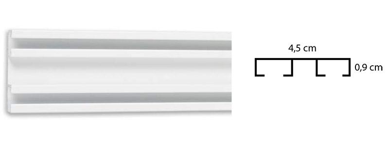 σιδηρόδρομος κουρτίνας διπλός Δανίας 4,5cm