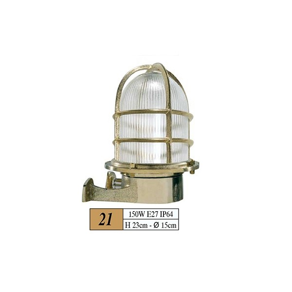 Φαναρι Χρωμα:Χρυσο Διαστασεις:150w, E27, Ip64,H23cm-Q15cm Κωδ21