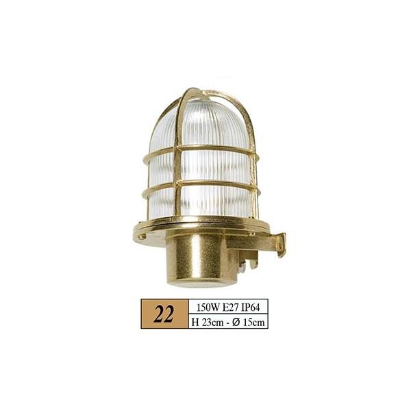 Φαναρι Χρωμα:Χρυσο Διαστασεις:150w,E27,Ip64, H23cm-Q15cm Kωδ22